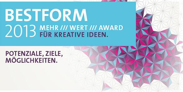 BESTFORM 2013 honoriert und unterstützt herausragende gemeinsame Entwicklungen zwischen der Kreativwirtschaft Sachsen-Anhalts und der Wirtschaft, die für diesen Vorsprung sorgen.