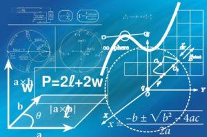 mathematische Berechnung weiß auf blau
