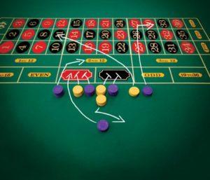Blackjack-Tisch mit eingezeichneten Spielzügen