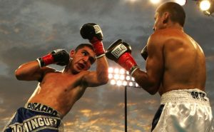 Nahaufnahme zweier Boxer im Ring