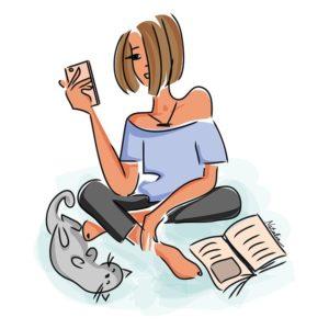 gezeichnetes Mädchen mit Handy in der Hand