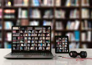Bibliothek auf dem Notebook-Bildschirm