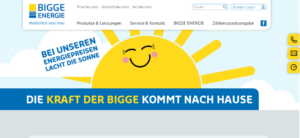 Screenshot der BIGGE Energie Homepage