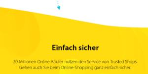 Screenshot der Homepage von trusted shops