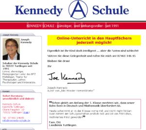 Screenshot der Homepage der Kennedy Schule