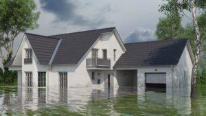 Haus im Grünen mit Wasserschaden nach Hochwasser