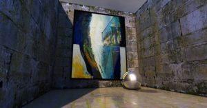 Gemälde lehnt an einer Wand