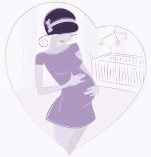 Zeichnung einer Schwangeren vor einem Babybett