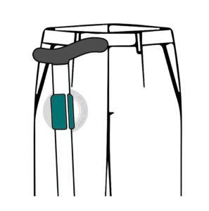 Zeichnung der Funktionsweise des Gehstockhalters