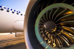 Nahaufnahme einer Flugzeugturbine