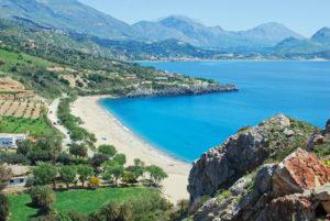 Luftbild eines kretischen Strandes
