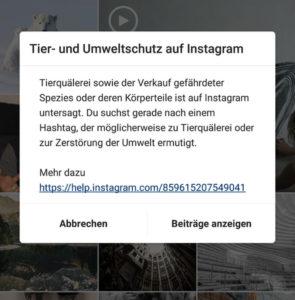 Screenshot der Anzeige von Instagram zum Tier- und Umweltschutz