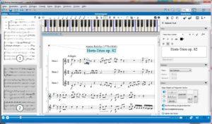 Screenshot des Programms mit Notenblatt und Keyboard