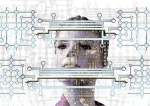 weibliches Gesicht hinter Datenwegen