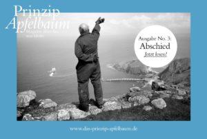 das Cover des Magazins Abschied - ein winkender Mann auf einer Steilküste