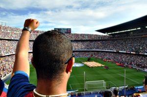 Blick über die Schulter eines jubelnden Mannes in ein Stadion
