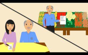 Zeichnung eines älteren Herrn am Tisch mit einer jungenDame