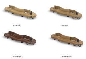 die Sitzbänke in verschiedenen Farben
