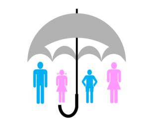 Schirm als Symbol für den Versicherungsschutz der ganzen Familie