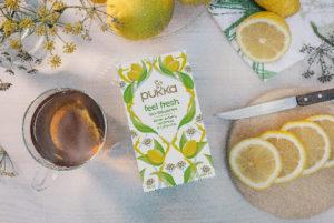 Glas Tee mit frischen Zitrusfrüchten