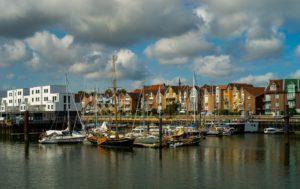 Cuxhaven vom Wasser aus betrachtet