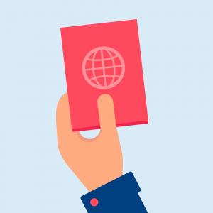 Hand hält einen Pass in der Hand