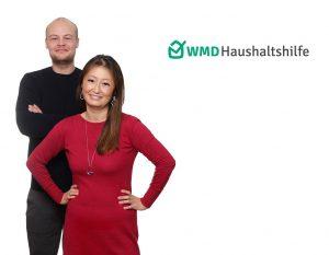 junge Frau und junger Mann neben dem Logo der WMD Haushaltshilfe