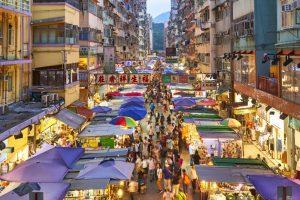 Blick in die belebten Straßen von Hongkong
