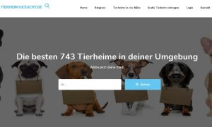 Homepage der Tierheimsuchseite