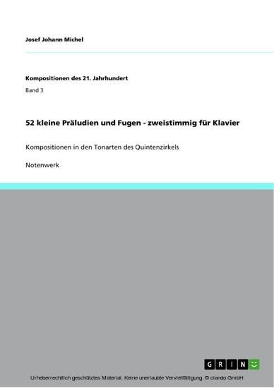 52 kleine Präludien und Fugen - zweistimmig für Klavier - Blick ins Buch