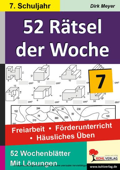52 Rätsel der Woche / Klasse 7 - Blick ins Buch