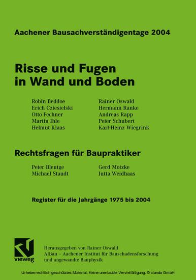 Aachener Bausachverständigentage 2004 - Blick ins Buch