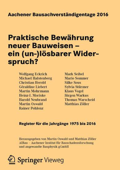Aachener Bausachverständigentage 2016 - Blick ins Buch
