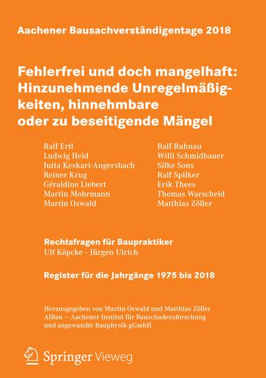 Aachener Bausachverständigentage 2018 - Blick ins Buch