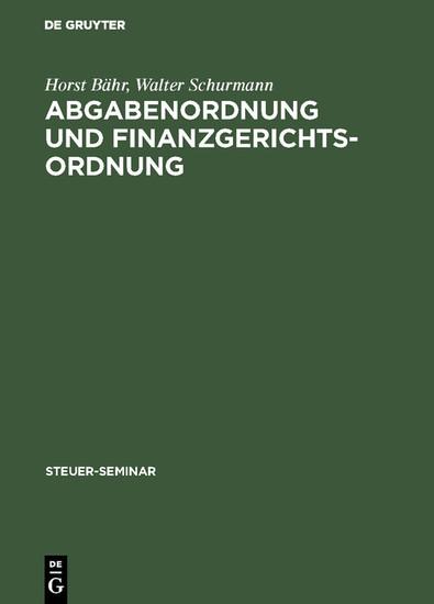 Abgabenordnung und Finanzgerichtsordnung - Blick ins Buch
