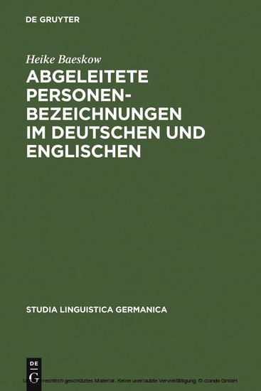 Abgeleitete Personenbezeichnungen im Deutschen und Englischen - Blick ins Buch