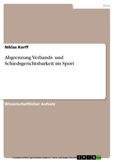 Abgrenzung Verbands- und Schiedsgerichtsbarkeit im Sport - Blick ins Buch