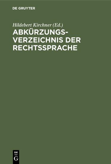 Abkürzungsverzeichnis der Rechtssprache - Blick ins Buch