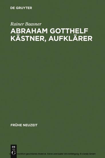 Abraham Gotthelf Kästner, Aufklärer - Blick ins Buch
