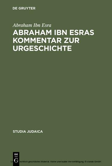Abraham ibn Esras Kommentar zur Urgeschichte - Blick ins Buch