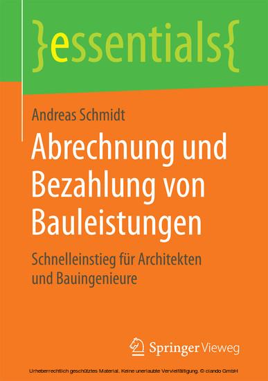 Abrechnung und Bezahlung von Bauleistungen - Blick ins Buch