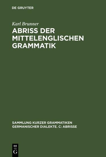 Abriß der mittelenglischen Grammatik - Blick ins Buch
