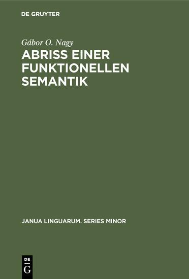 Abriß einer funktionellen Semantik - Blick ins Buch