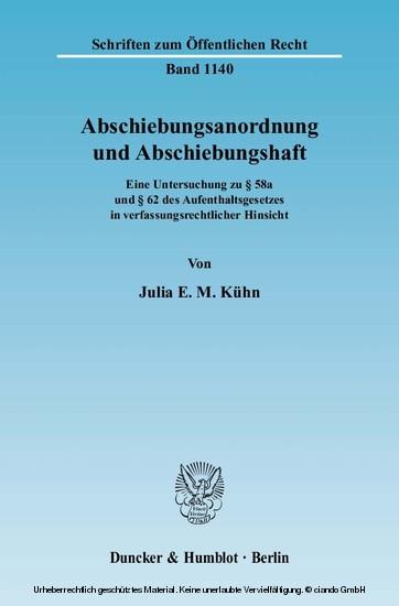 Abschiebungsanordnung und Abschiebungshaft. - Blick ins Buch