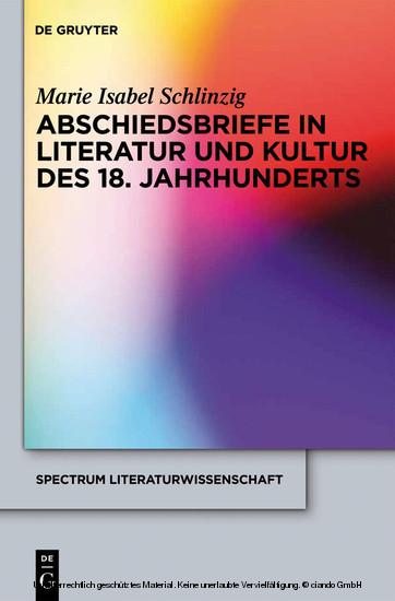 Abschiedsbriefe in Literatur und Kultur des 18. Jahrhunderts - Blick ins Buch
