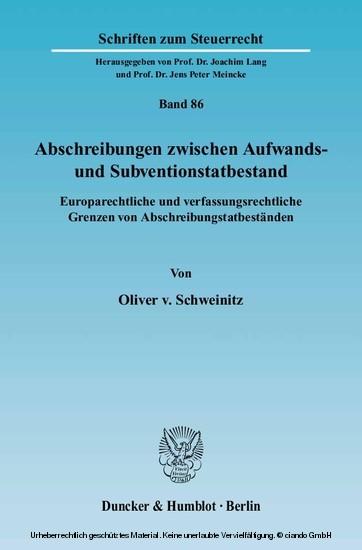Abschreibungen zwischen Aufwands- und Subventionstatbestand. - Blick ins Buch