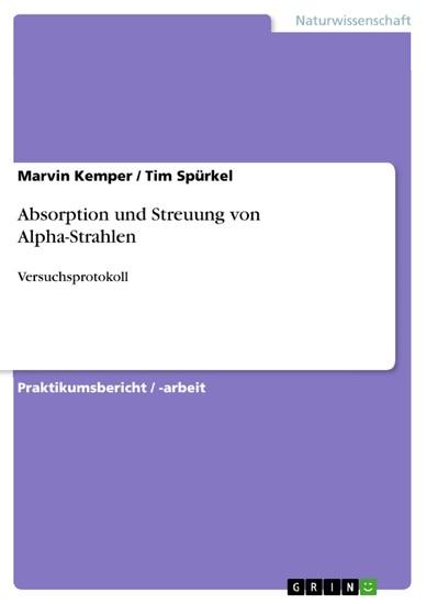 Absorption und Streuung von Alpha-Strahlen - Blick ins Buch