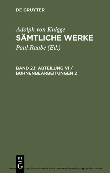 Abteilung VI / Bühnenbearbeitungen 2 - Blick ins Buch