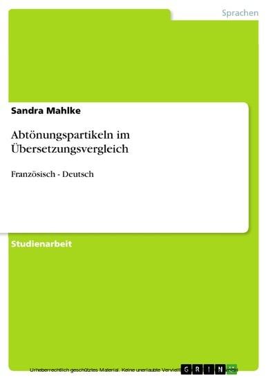 Abtönungspartikeln im Übersetzungsvergleich - Blick ins Buch