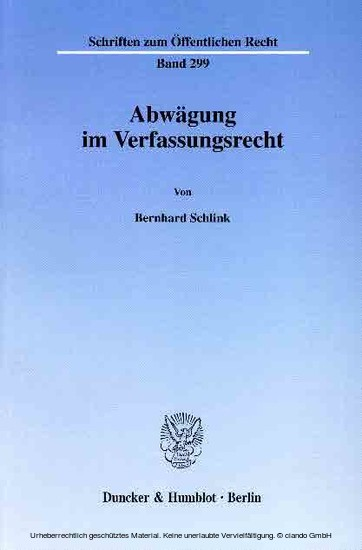 Abwägung im Verfassungsrecht. - Blick ins Buch